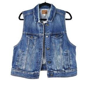 AEO Blue Distressed Wash Denim Jean Vest XL